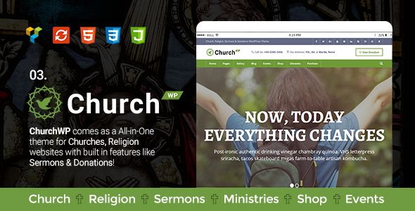 Church, Religion, Sermons & Donations WordPress Theme - ChurchWP . Church, has features such as High Resolution: Yes, Widget Ready: Yes, Compatible Browsers: IE11, Firefox, Safari, Opera, Chrome, Edge, Compatible With: WPML, WooCommerce 2.6.x, WooCommerce 2.5, Events Calendar, Visual Composer 4.12.x, Visual Composer 4.11.2.1, Visual Composer 4.11.x, Visual Composer 4.10.x, Bootstrap 3.x, Framework: Underscores, Software Version: WordPress 4.6.1, WordPress 4.6, WordPress 4.5.x, WordPress…