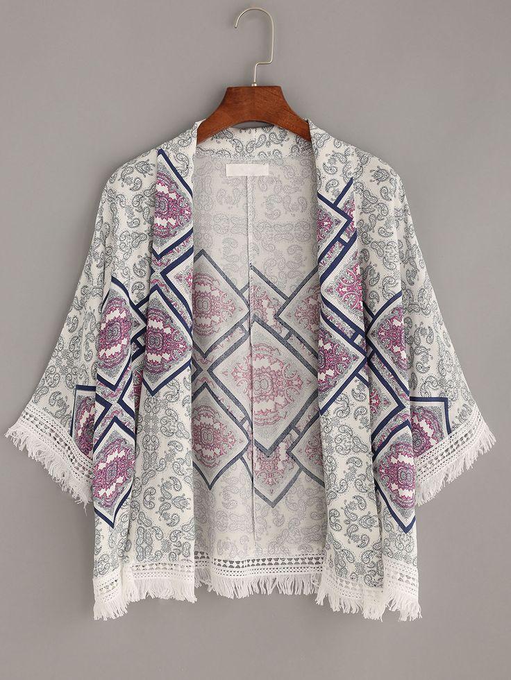 White Paisley Print Frayed Lace Trimmed Kimono