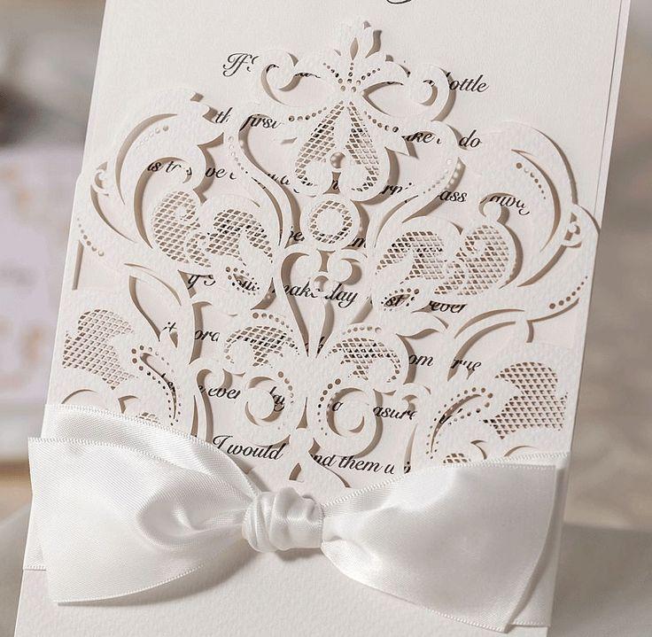 LASER CUT INVITATIONS WEDDING WALLET REGAL BAROQUE +RIBBON +ENV & BLANK INSERT in Home, Furniture & DIY, Wedding Supplies, Cards & Invitations | eBay
