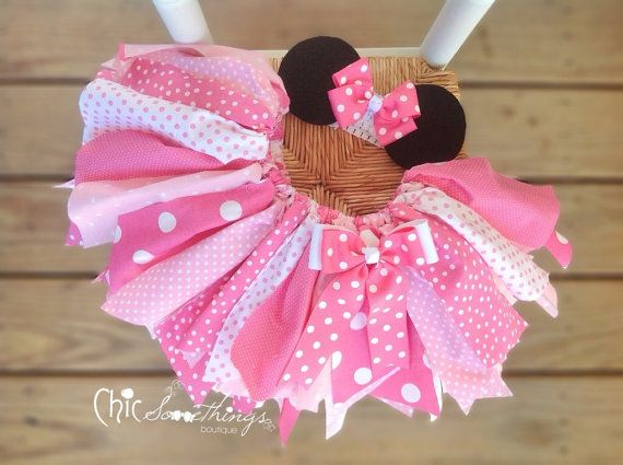 Fabric Tutu, TEA WITH , Minnie mouse birthday, pink tutu, minnie halloween costume, Minnie Mouse fabric tutu, minni birthday tutu on Etsy, $34.00