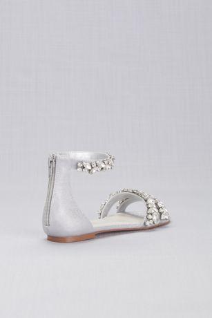 e3ef5c8c4 Back zipper Imported. Jeweled Metallic Ankle Strap Flat Sandals | David's  Bridal Ankle Strap Flats, Flat Sandals,
