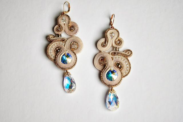 diamonds are forever (and are girl's best friend) golden and swarovski's crystal soutache earrings / bridal jewelry