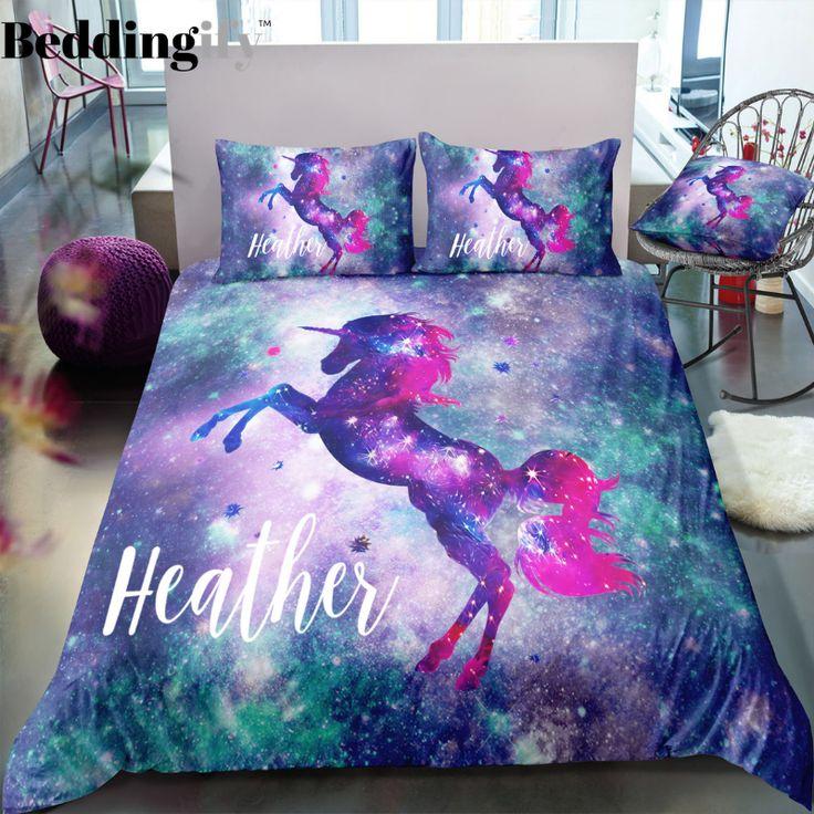 Personalized Galaxy Unicorn Bedding Set Unicorn bed set