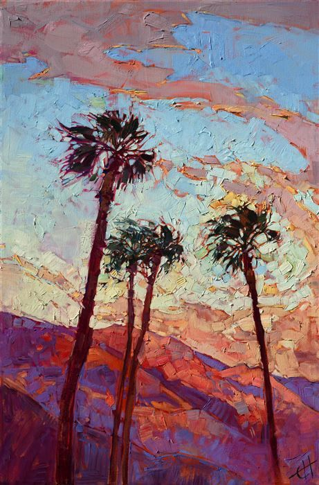 Palm Spring landscape painting in California desert color, by modern impressionist Erin Hanson