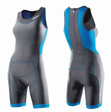 2XU Women's Perform Tri Suit With Rear Zip with Sensor Mesh X provides ventilation while a 2XU LD Chamois offers support for the bike and discretion on the run.
