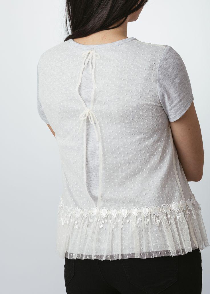 Camiseta de algodón con tul fino
