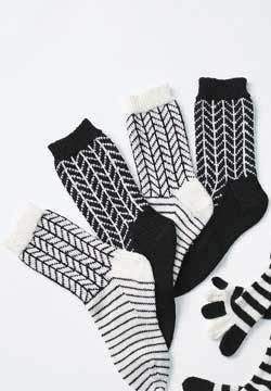 Black and White Chevron Socks Knitting Pattern | FaveCrafts.com