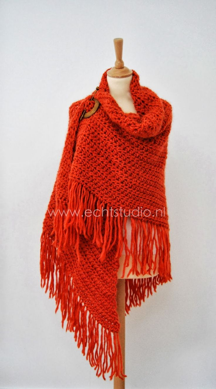 Really Studio: Free pattern for a warm shawl! - in the paragraph below the lovely shawl picture, click the second link to go through to the free pattern shop to download the pattern #shawl #crochet #fringe