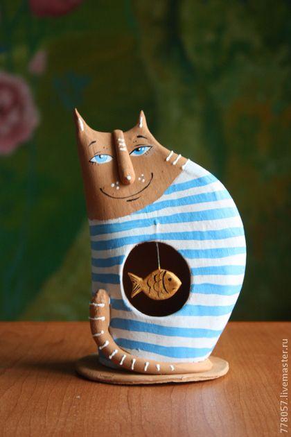 """Игрушки животные, ручной работы. Ярмарка Мастеров - ручная работа Котик """" Рыбку скушать, сказку слушать"""". Handmade."""