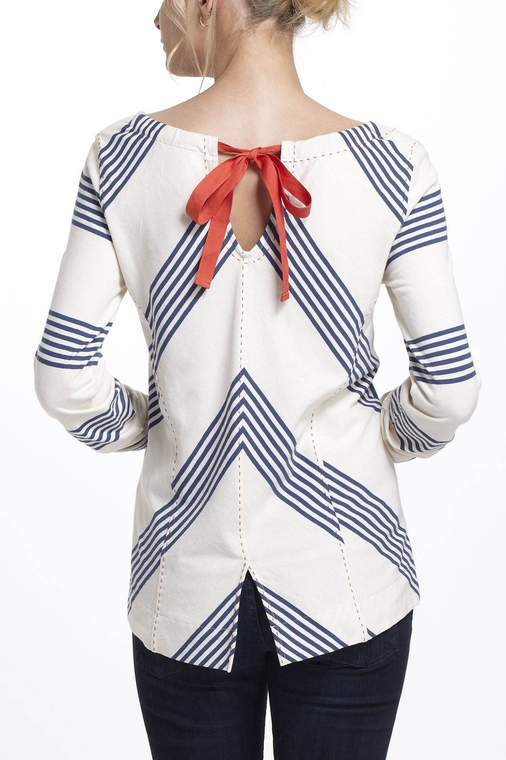 Tie Bow Back Chevron shirt