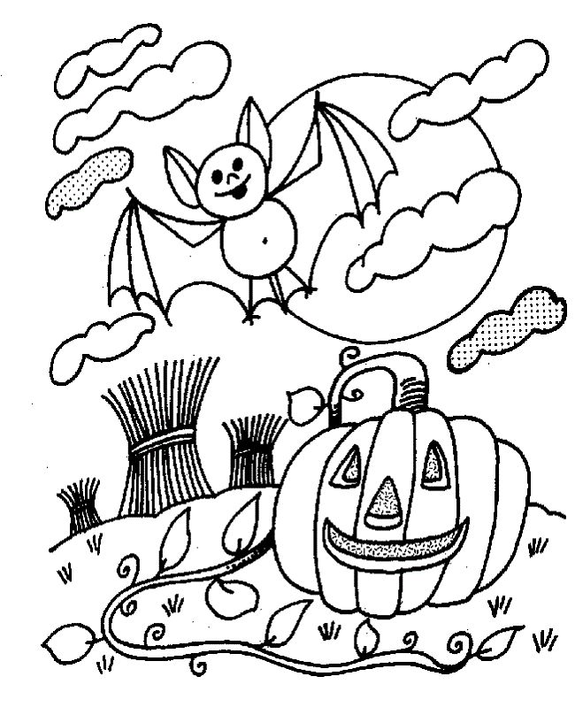 Black And White Halloween Coloring Pages
