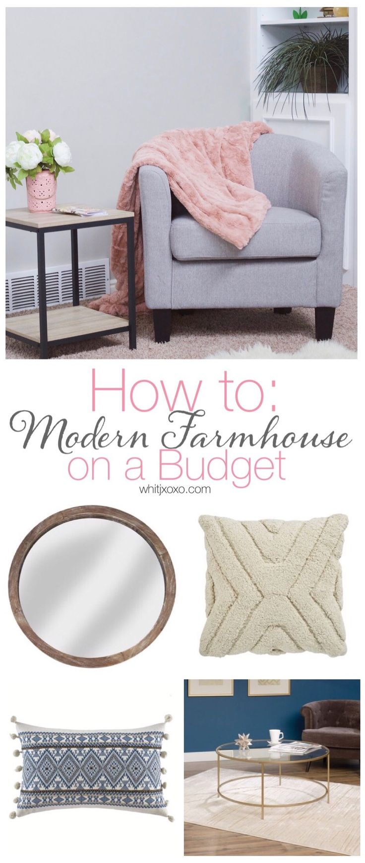 Do you want to do modern farmhouse design in your home but think it's impossible to stick to a budget? Well, it's not and this post will show you how!   whitjxoxo.com