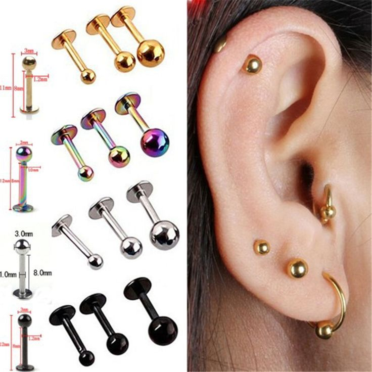 5Pcs Surgical Stainless Steel Tragus Helix Bar Ball Labret Lip Cartilage Top Upper Ear Studs Earrings Body Piercing Jewelry