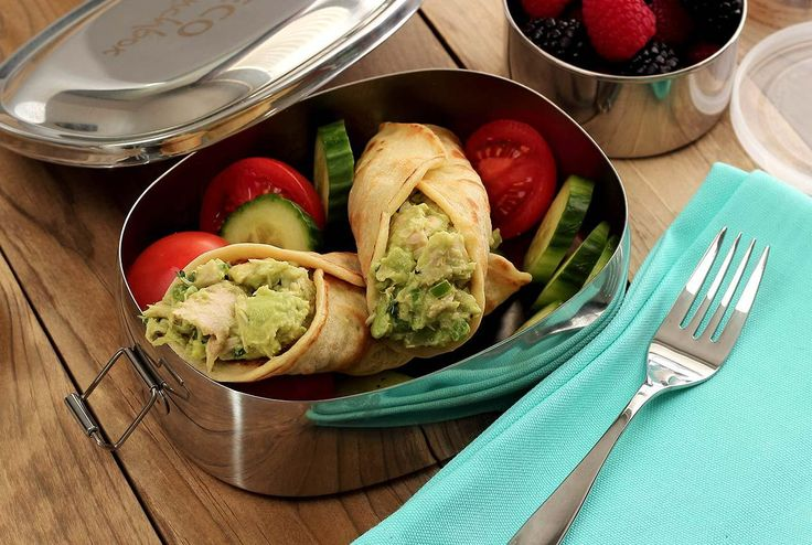 Delicious paleo and gluten-free lunch recipe for Tuna-Avocado wraps made with our super-easy paleo and gluten free tortillas. Make the easy tortillas the night before, roll them up in the morning, and you're good to go!