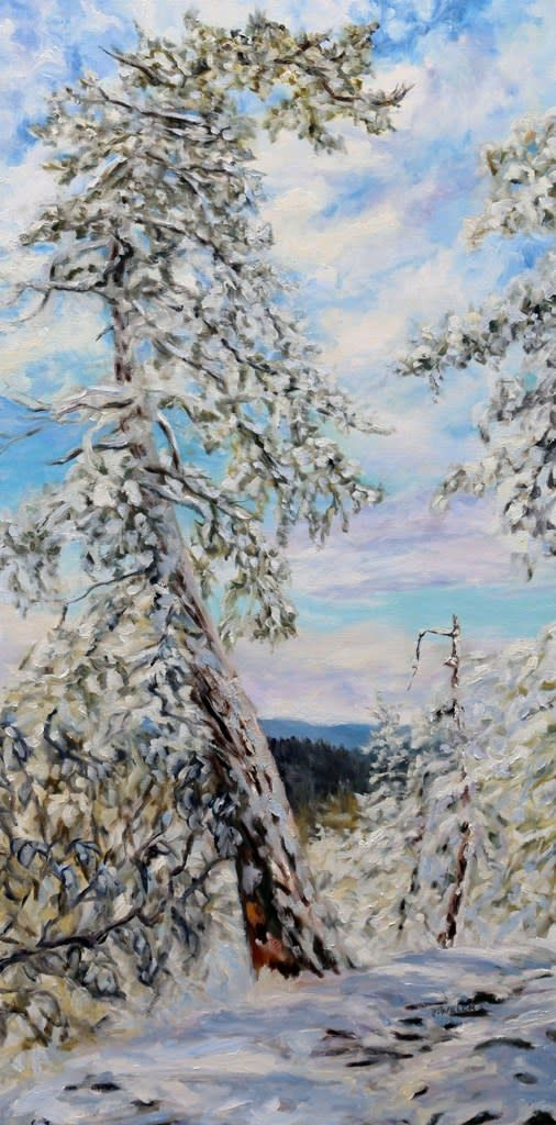 Winter with the Old Fir on the Ridge - large 48 X 24 inch oil painting by Canadian landscape painter Terrill Welch