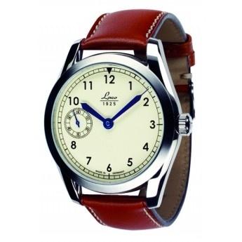Reloj Clásico Laco  http://www.tutunca.es/reloj-mecanico-laco-navy-44-crema-cuero-marron