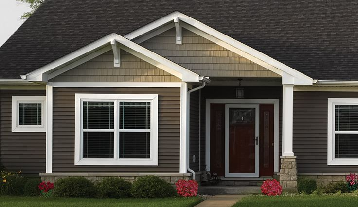 """Vinyl Siding & Polymer Shakes - Photo Gallery - CertainTeed Design Center...Monogram Double 4"""" siding in Sable Brown and Northwoods Single 7"""" in Savannah Wicker."""