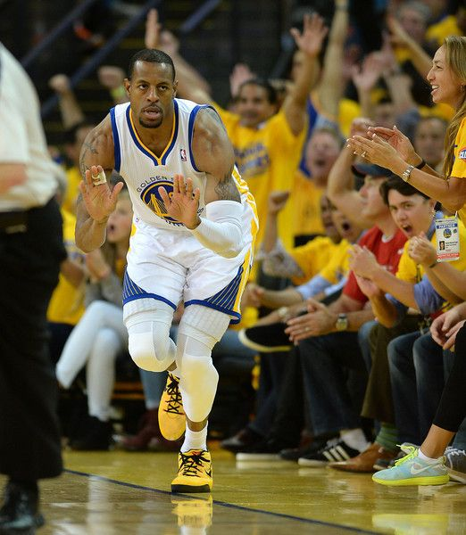 Description of . The Golden State Warriors' Andre Iguodala (9) hits a 3-point shot against the Los Angeles Clippers in the fourth quarter in game 6 of their Western Conference NBA playoff game at Oracle Arena in Oakland, Calif., on Thursday, May 1, 2014.(Dan Honda/Bay Area News Group)
