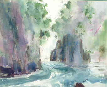 Franklin River watercolour, Margaret Morgan Watkins