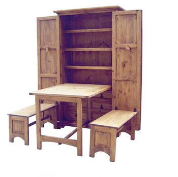 Rustic Cowboy Kitchen Hide Away Dining Table Bench Solid Wood Cabinet