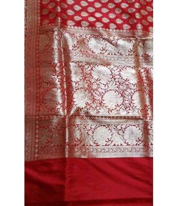 Red Banarasi Handloom Katan Silk Saree
