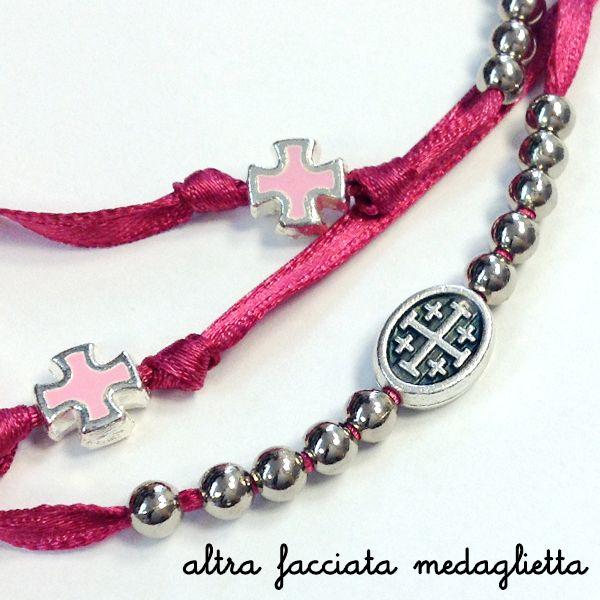 Bracciale rosario 5 decine con croci e madonna   Egoriccione  rosary bracelet fuxia