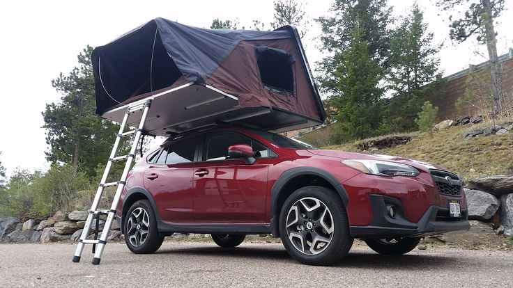 4 Person Hardshell Rooftop Tent On A Subaru Crosstrek Ikamper Skycamp Sets Up In Under 1 Minute And Has A King Size Matt Roof Top Tent Subaru Crosstrek Tent