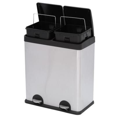 Superior 2 Compartment Stainless Steel Trash Can And Recycling Bin