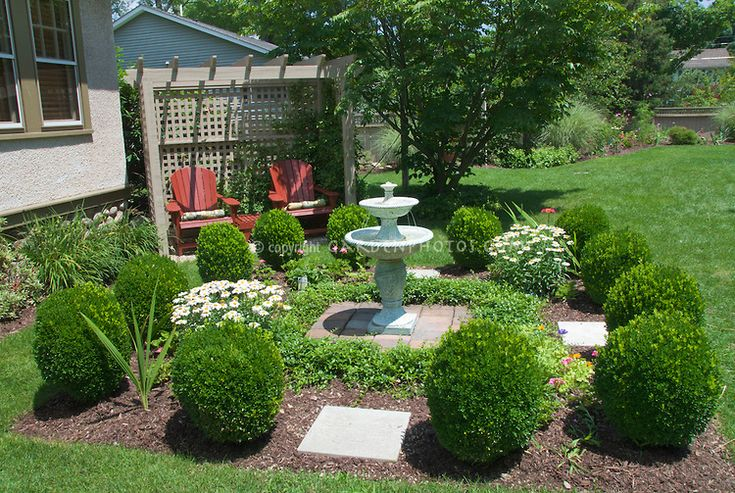 Landscaping Around Hedges : Best images about fountain landscaping on