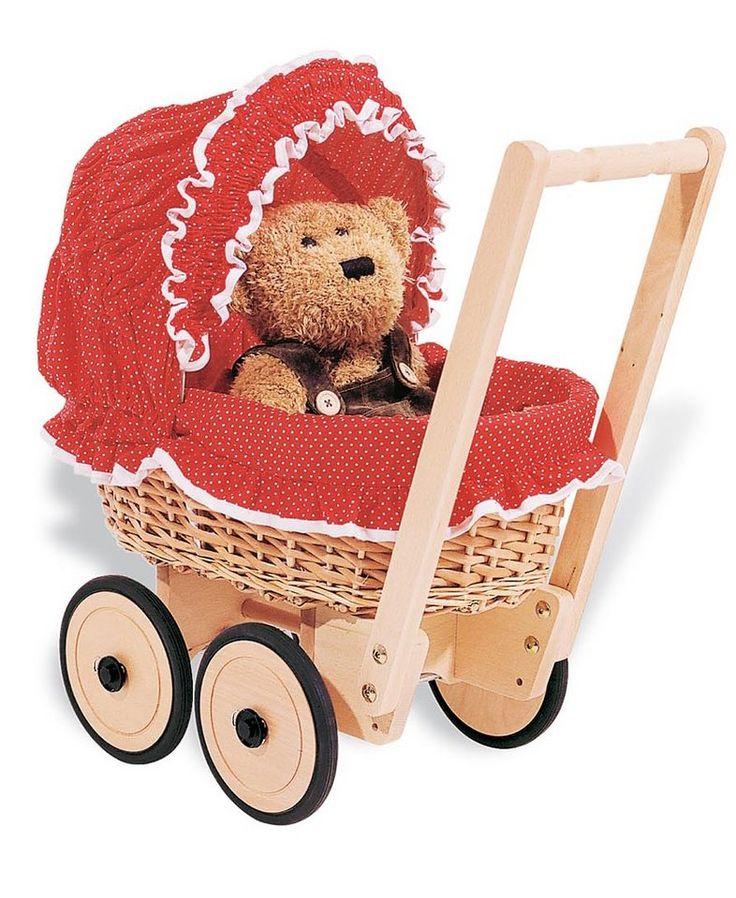 Pinolino Korbpuppenwagen mit Bettzeug, »Mona - Pünktchen« für 149,99€. Puppenwagen »Mona«, Ab 12 Monaten, Aus handgeflochtener Weide bei OTTO