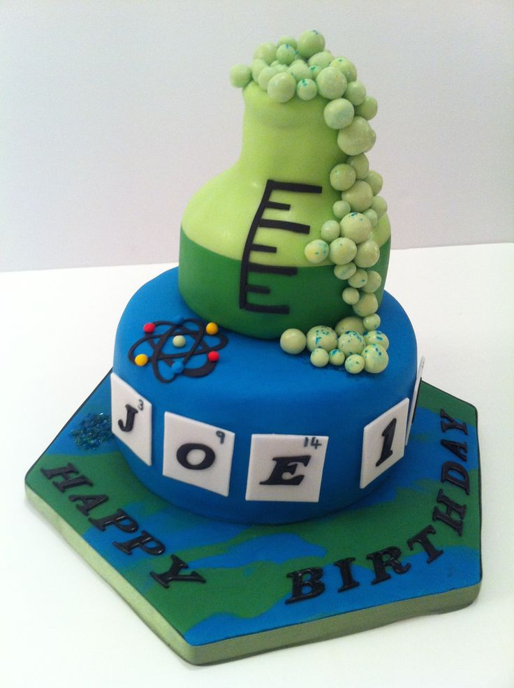 A CHEMISTRY CAKE which turned out to be an irresistible edible experiment with a bubbling concoction of chocolate and more chocolate inside a fondant laboratory Erlenmeyer flask. Sept 2014