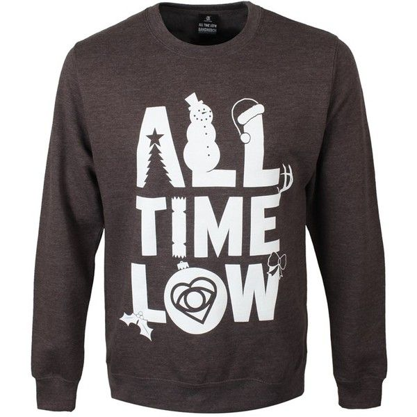 All Time Low Logo Mens Grey Christmas Sweater (49 CAD) ❤ liked on Polyvore featuring men's fashion, men's clothing, men's sweaters, mens gray sweater, mens christmas sweaters, mens sweaters and mens grey sweater