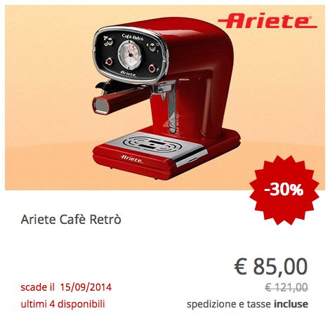 Offerta Macchina da Caffé Retrò Rossa Ariete