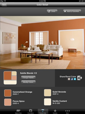 Behr paint app.  Try out colors on a virtual room, color match from a picture and find your color palate all from home!  So handy when I was painting my room, I didn't have to come home with samples!  Saved me time and money and fun to try colors!