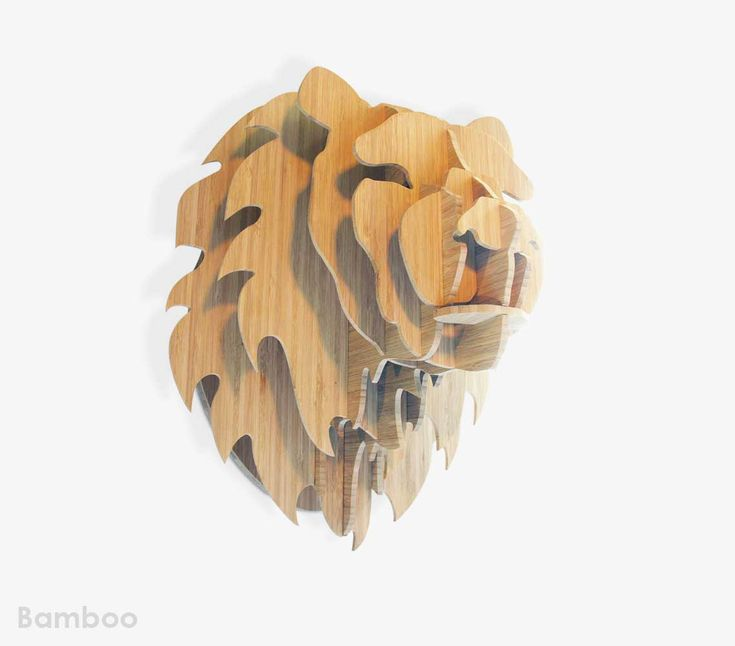 Medium bamboo lion trophy head
