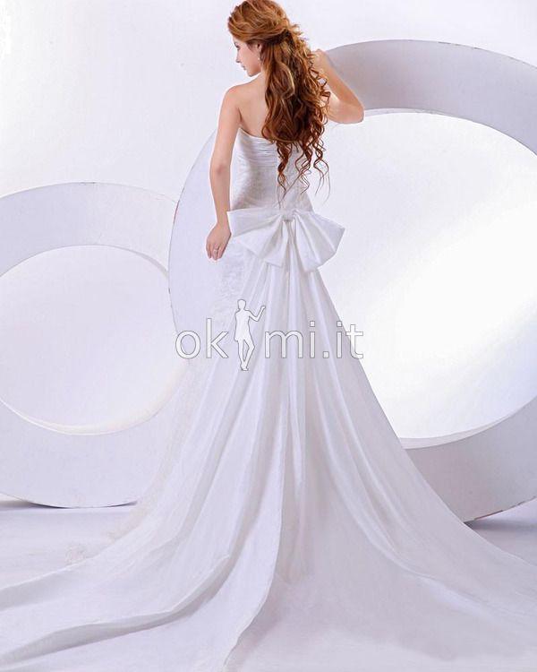 Abito da Sposa sexy Pudica Cuore Sirena con Floreale di cristallo pin