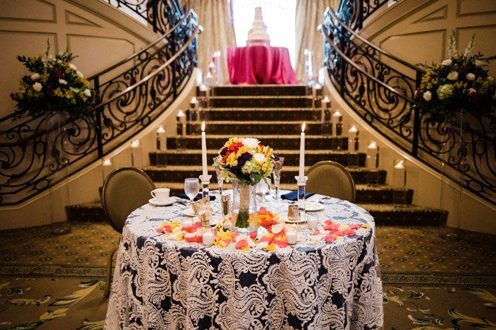 Sweetheart Table Lace Navy Fuchsia Sally Oakley Wedding Venue At