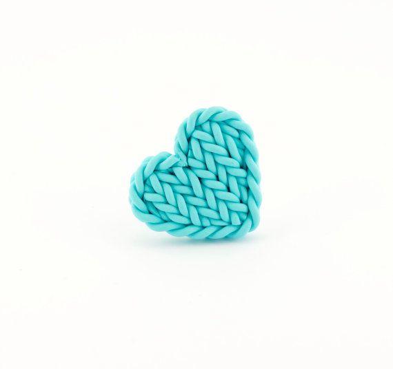 Aqua blue heart ring - knit imitation heart - heart shaped light blue ring - valentine's gift blue green heart
