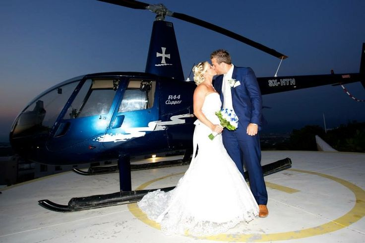 Helicopter wedding arrival photography by kosta savva