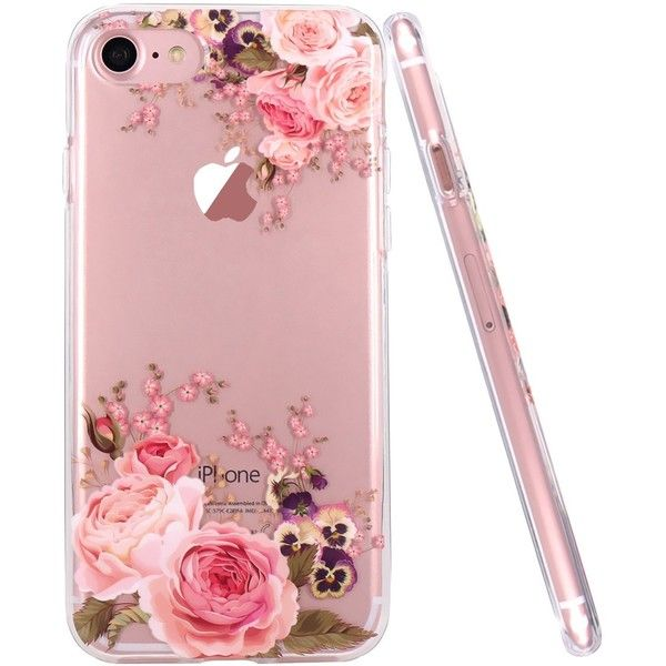 iPhone 7 Case,iPhone 8 Case,JAHOLAN Girl Floral Clear TPU Soft Slim... ($9.99) ❤ liked on Polyvore featuring accessories and tech accessories