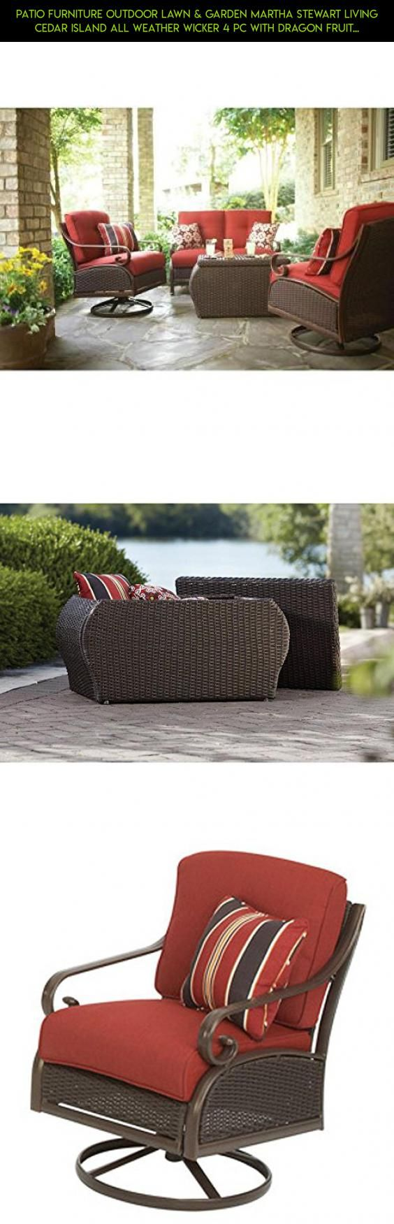 PATIO FURNITURE OUTDOOR LAWN & GARDEN MARTHA STEWART LIVING CEDAR ISLAND ALL WEATHER WICKER 4 PC WITH DRAGON FRUIT CUSHIONS RED #racing #technology #tech #plans #shopping #drone #kit #gadgets #furniture #parts #patio #fpv #products #home #camera #depot