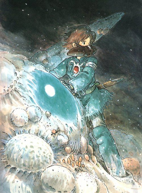 Nausicaa this drawing / frame from the film is intresting it has a lot of detail in the right places and very little in others it shows how to spread what you bother to do deatil in so whats people are going to look at.