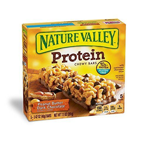 Nature Valley Chewy Granola Bar, Protein, Peanut Butter Dark Chocolate, 5 Bars – 1.4 oz  REAL INGREDIENTS: Granola bars are made with roasted peanuts, semisweet chocolate chips and creamy peanut butterPROTEIN SNACK BAR: A quick and natural energy boost and a good source of proteinSWEET & CHEWY: Filled with nuts and flavored with rich dark chocolate for a delicious chewy snack with a satisfying crunch  http://dailydealfeeds.com/shop/nature-valley-chewy-granola-bar-protein-peanut-b..