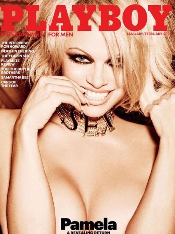 So last nude model Playboy magazine, Pamela Anderson appeared topless. (via twitter.com/Playboy)