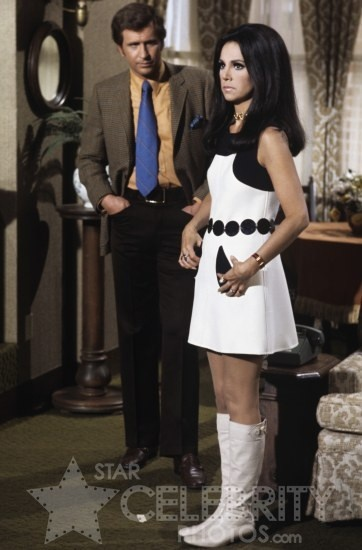 """That Girl"", mod mini dress & white boots, Marlo Thomas & Ted Bessel (Donald on THAT GIRL)"