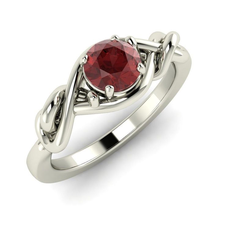 0 53 cts Natural Round Garnet Solitaire Engagement Ring in 18K Solid White Gold…