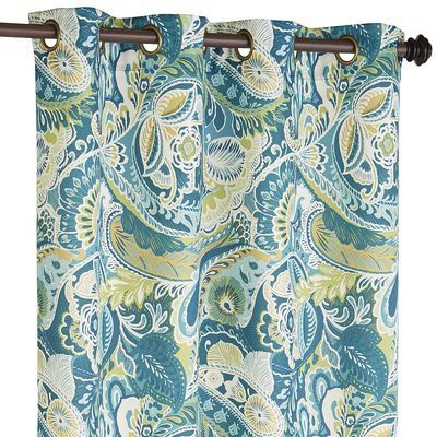 Vibrant Paisley Grommet Top Teal Curtain | Pier 1 Imports