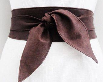 Lazo de ricos marrón cuero cinturón Obi tulip Cintura o