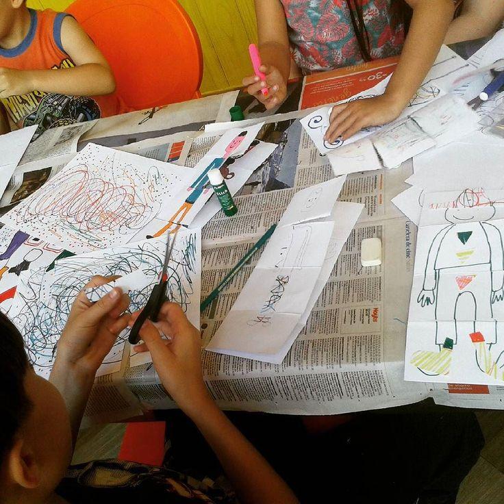 Cuarta parte collage en el taller de ilustración para niños en Biblioteca Viva Egaña. #TallerIlustracion #JulyMacuada #bibliotecaViva