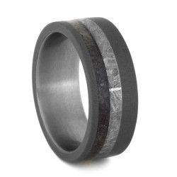 Meteorite Dinosaur Sandblasted Titanium Ring